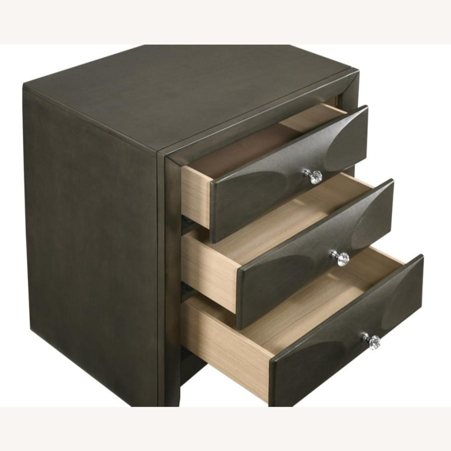 Nightstand In Mod Grey Finish W/ 3D Bow Tie Fronts - image-2