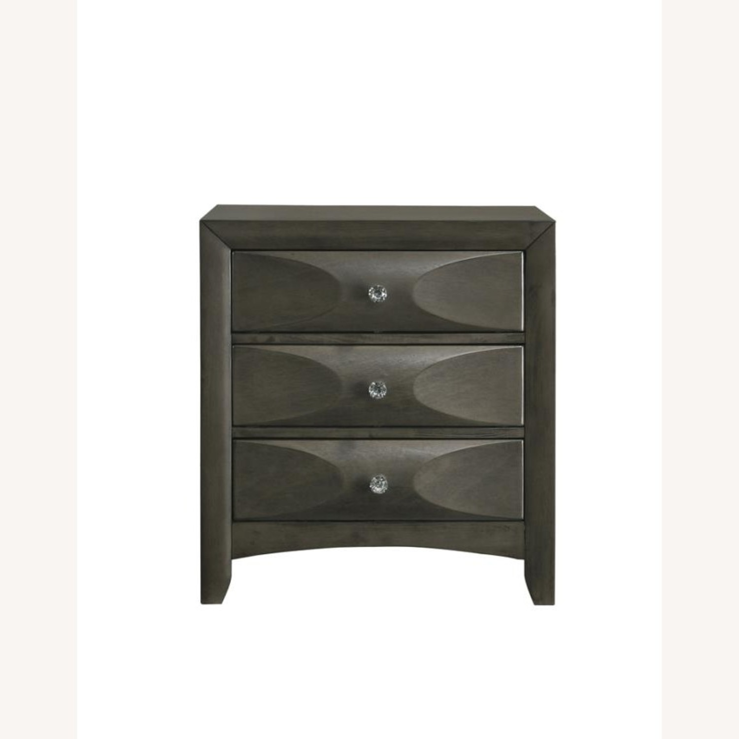 Nightstand In Mod Grey Finish W/ 3D Bow Tie Fronts - image-1
