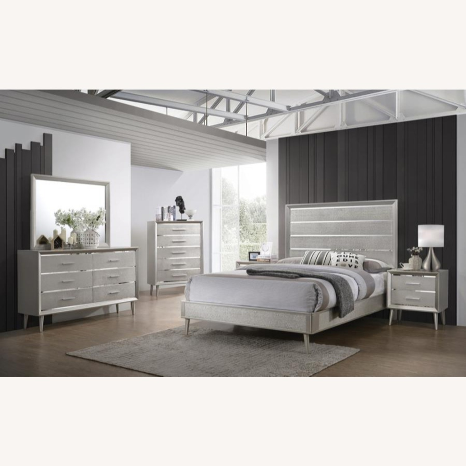 Mid Century King Bed In Metallic Sterling Finish - image-2