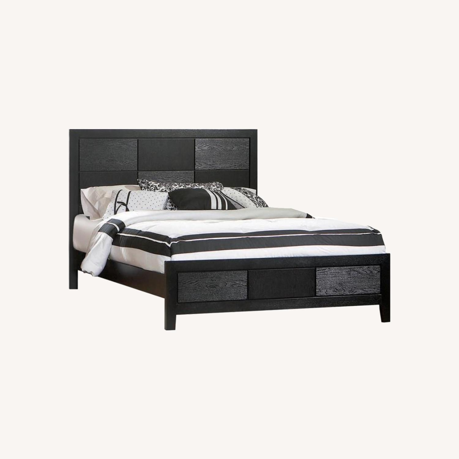 King Bed In Black W/ Geometric Checkered Detail - image-4