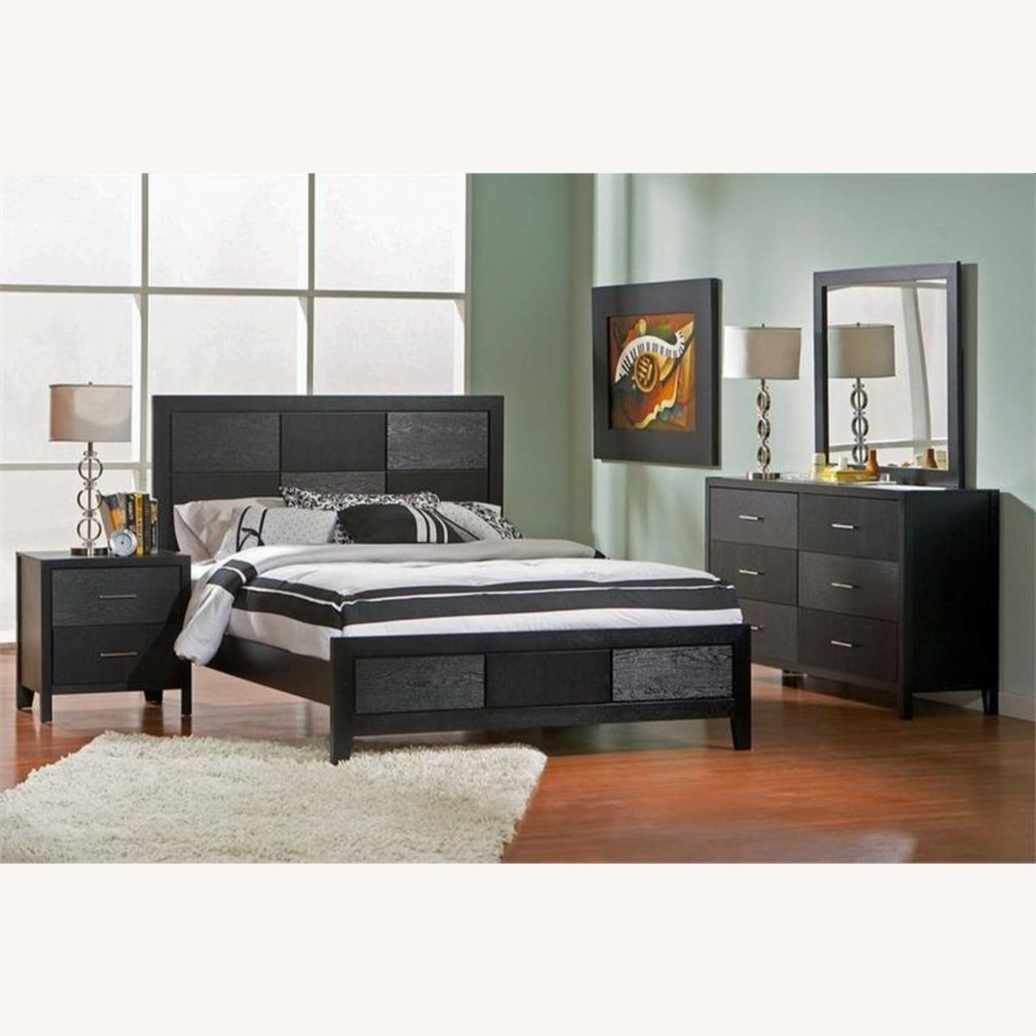 King Bed In Black W/ Geometric Checkered Detail - image-3