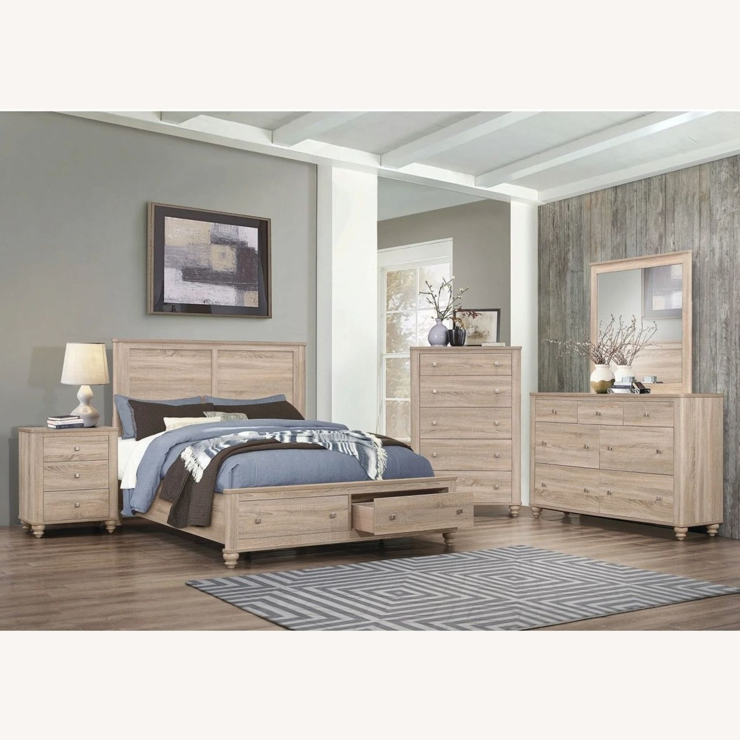3-Drawer Nightstand In Natural Oak Finish - image-5