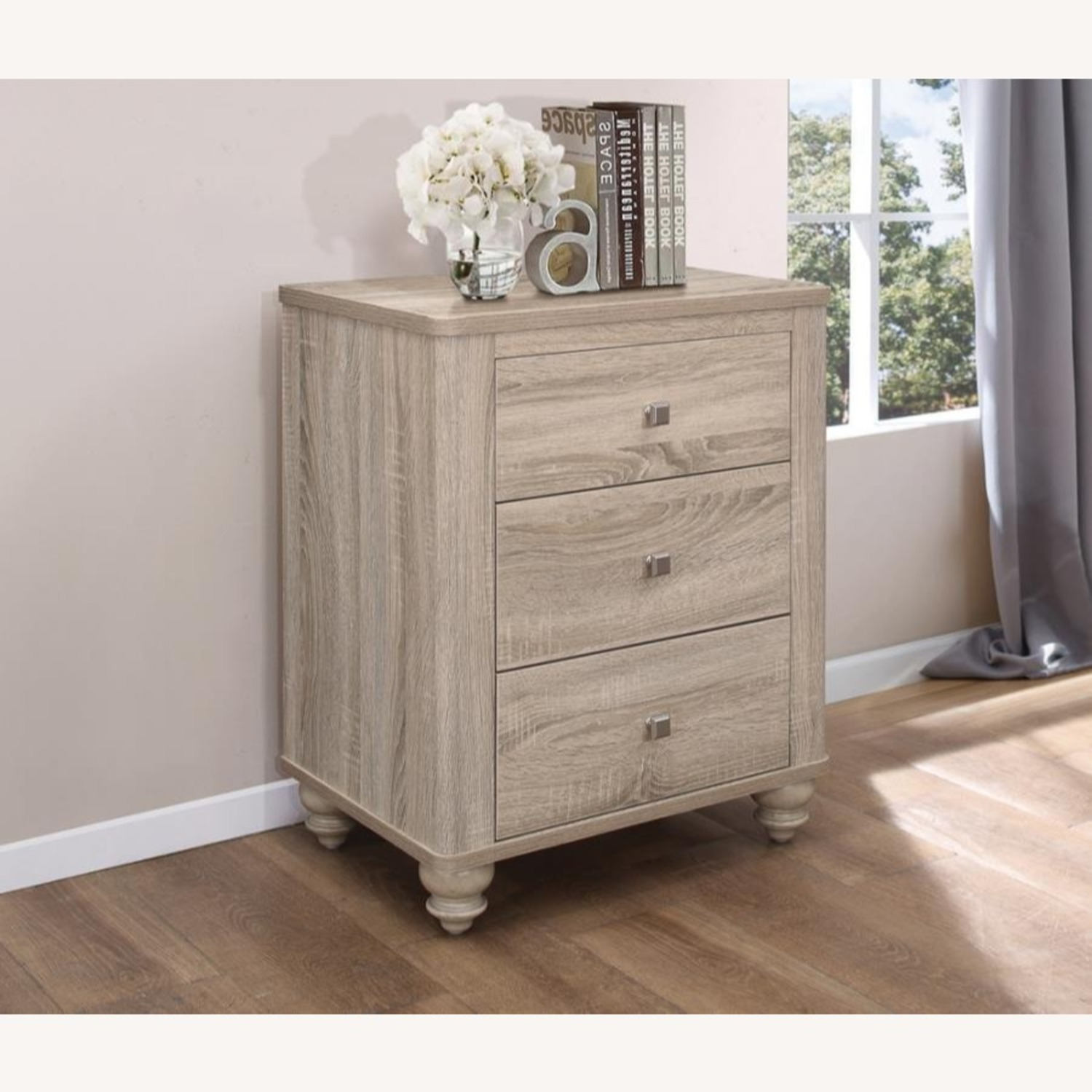 3-Drawer Nightstand In Natural Oak Finish - image-4