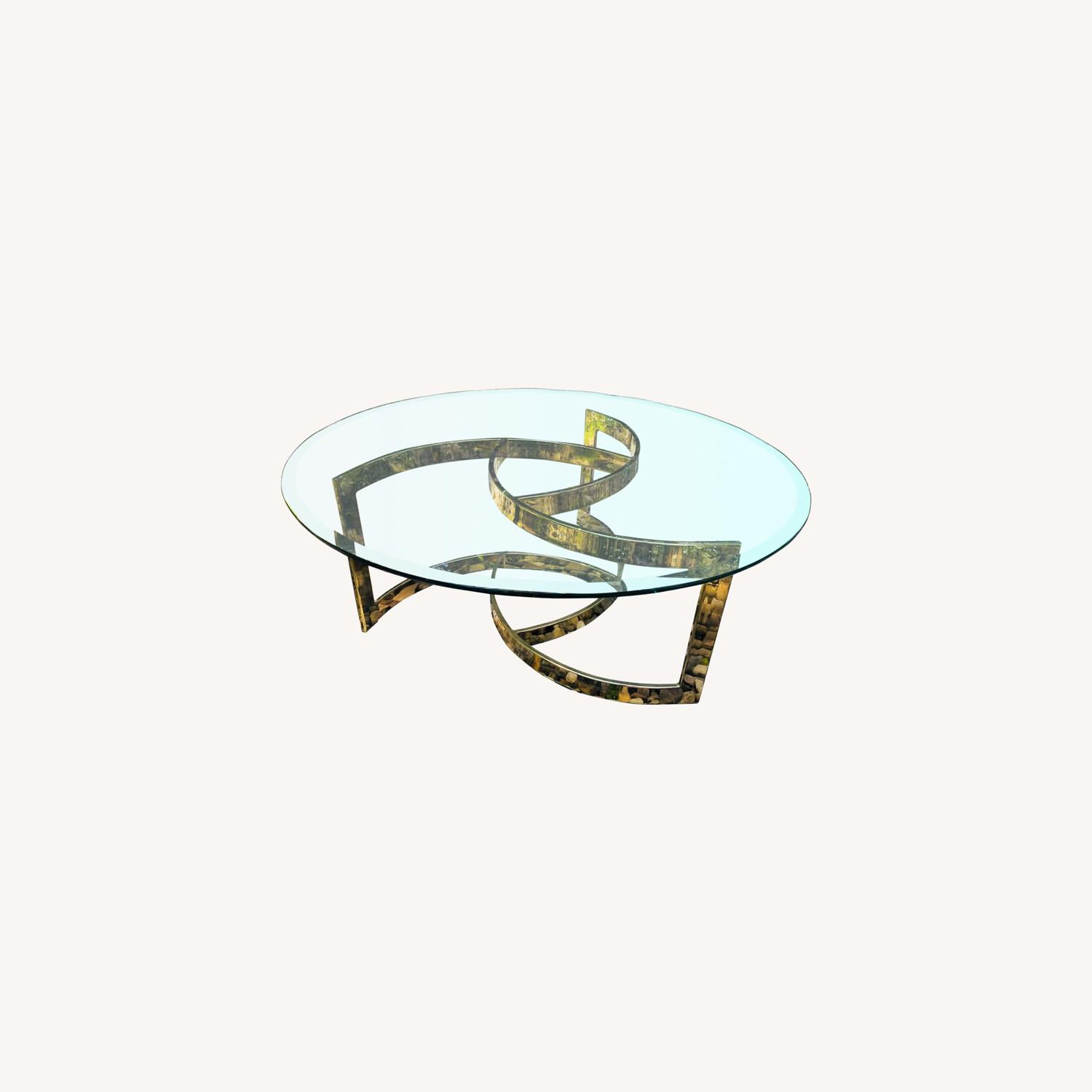Vintage Brass and Glass Coffee Table Glam Mod - image-0