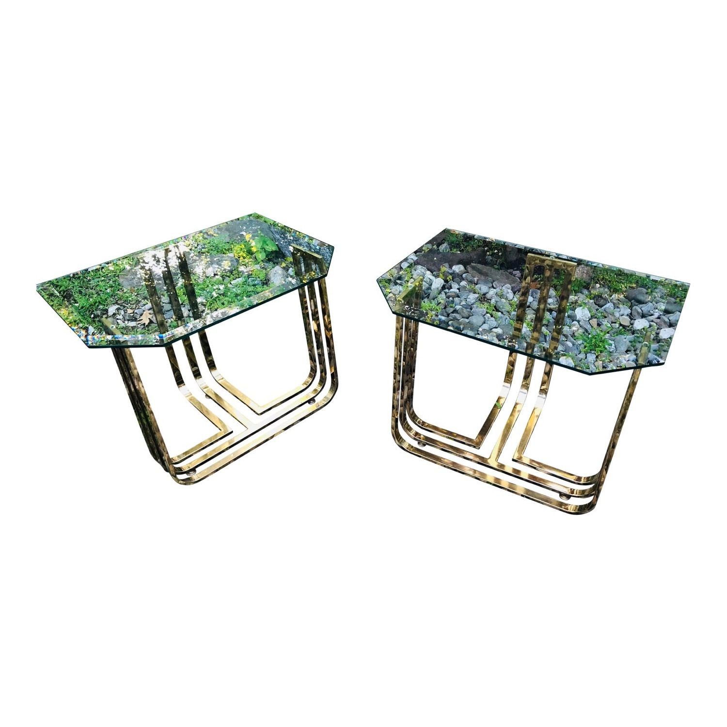 Vintage Brass and Glass Side Table Deco Glam Style - image-1