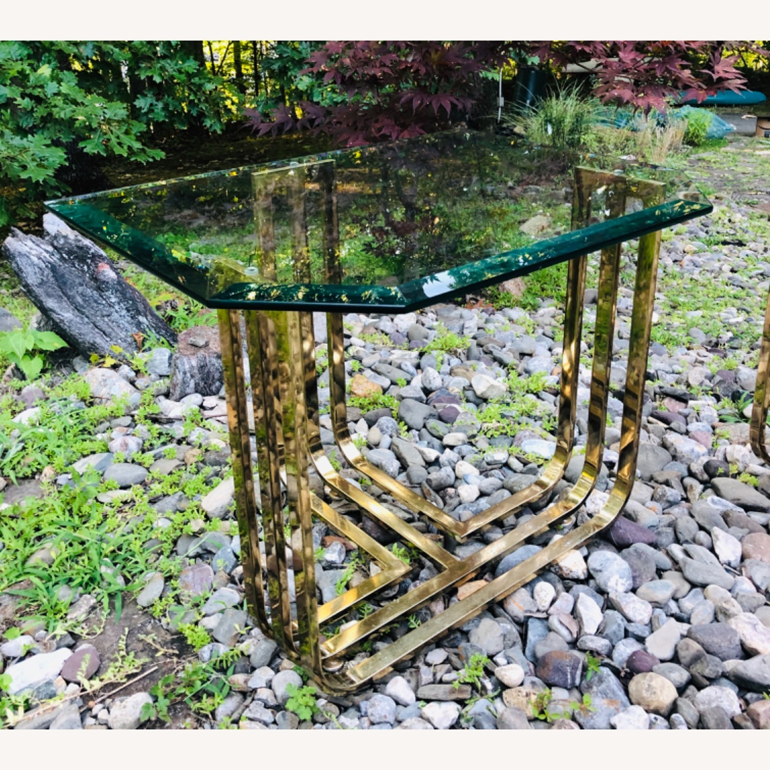 Vintage Brass and Glass Side Table Deco Glam Style - image-0