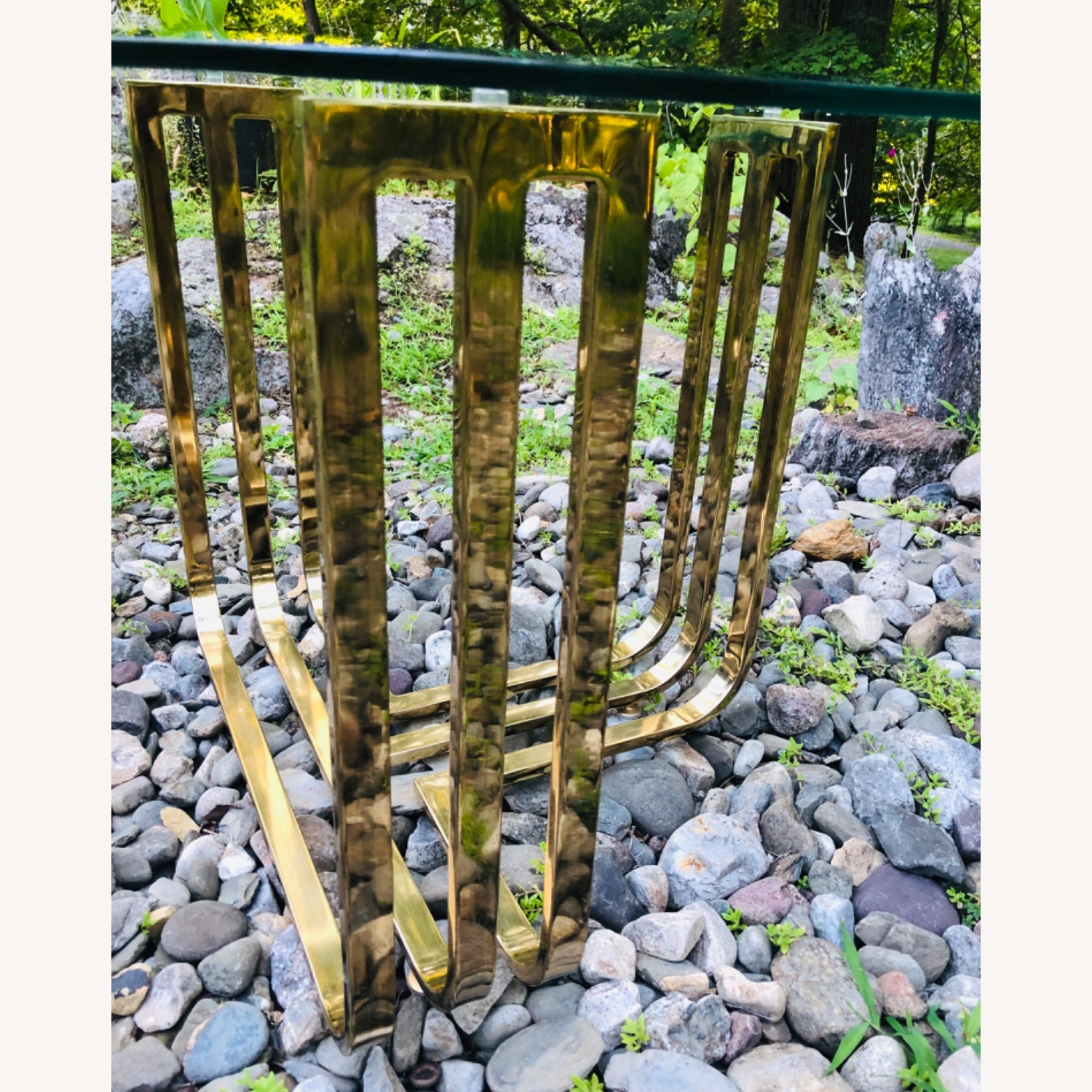 Vintage Brass and Glass Side Table Deco Glam Style - image-9