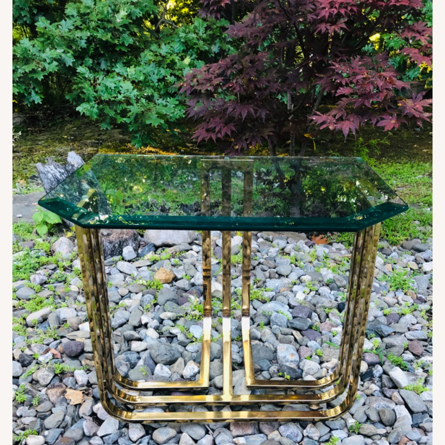 Vintage Brass and Glass Side Table Deco Glam Style - image-7