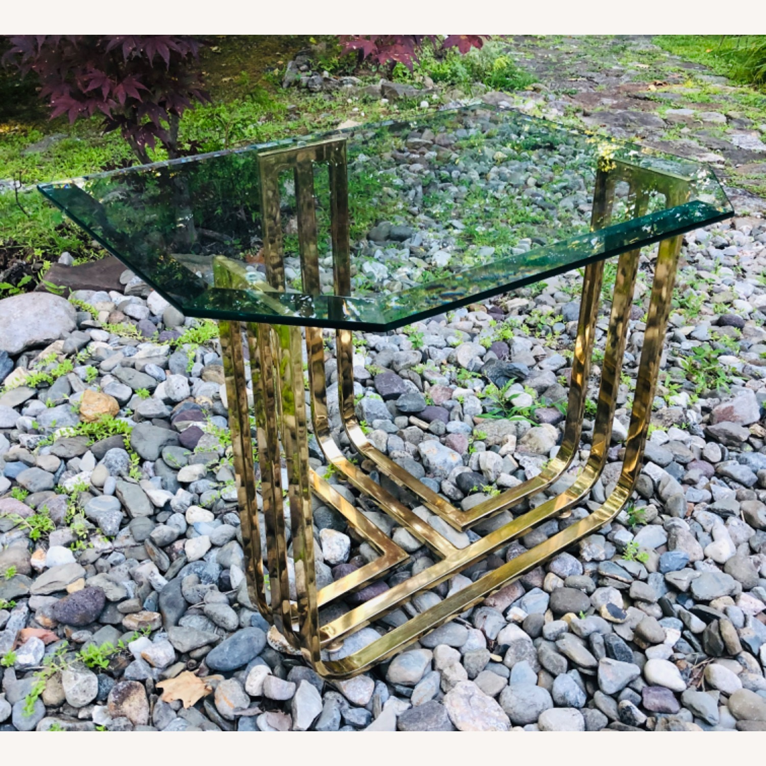 Vintage Brass and Glass Side Table Deco Glam Style - image-8