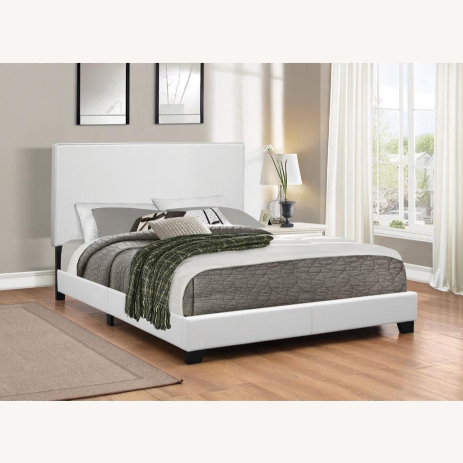 Modern Twin Bed Upholstered In White Leatherette - image-1