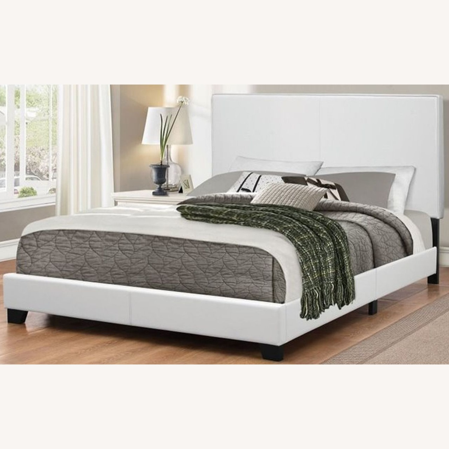 Modern Twin Bed Upholstered In White Leatherette - image-2