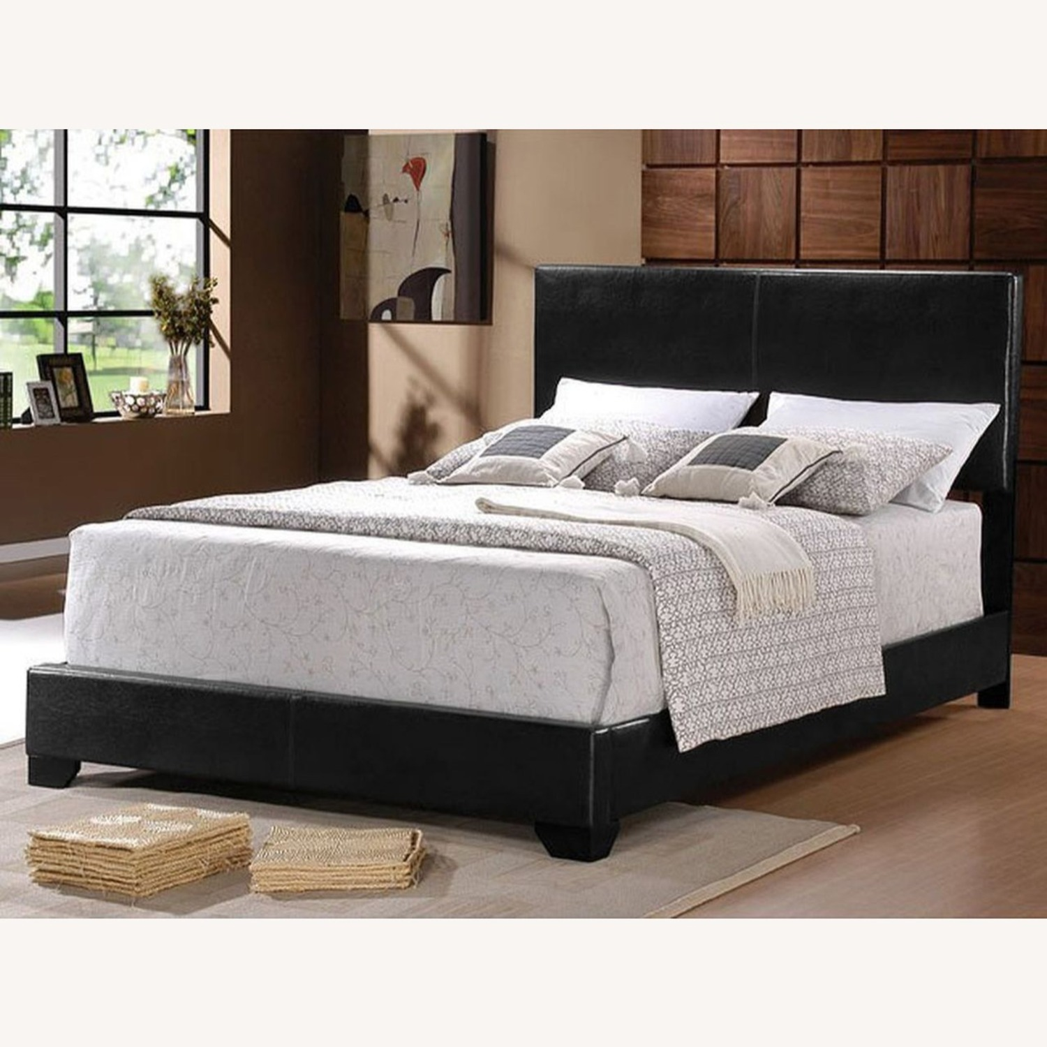 Full Bed In Black Finish W/ Black Leatherette - image-3