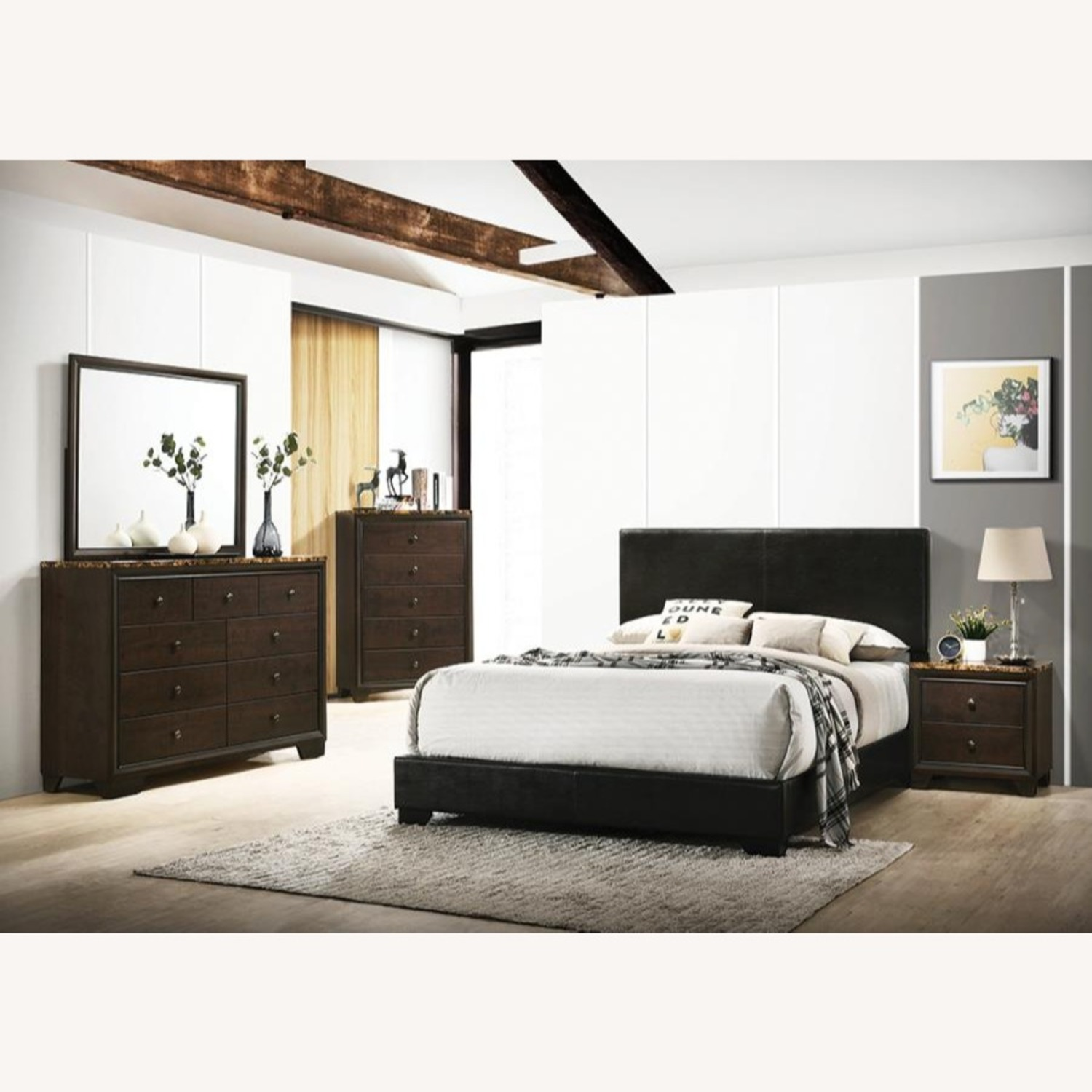 Full Bed In Black Finish W/ Black Leatherette - image-4