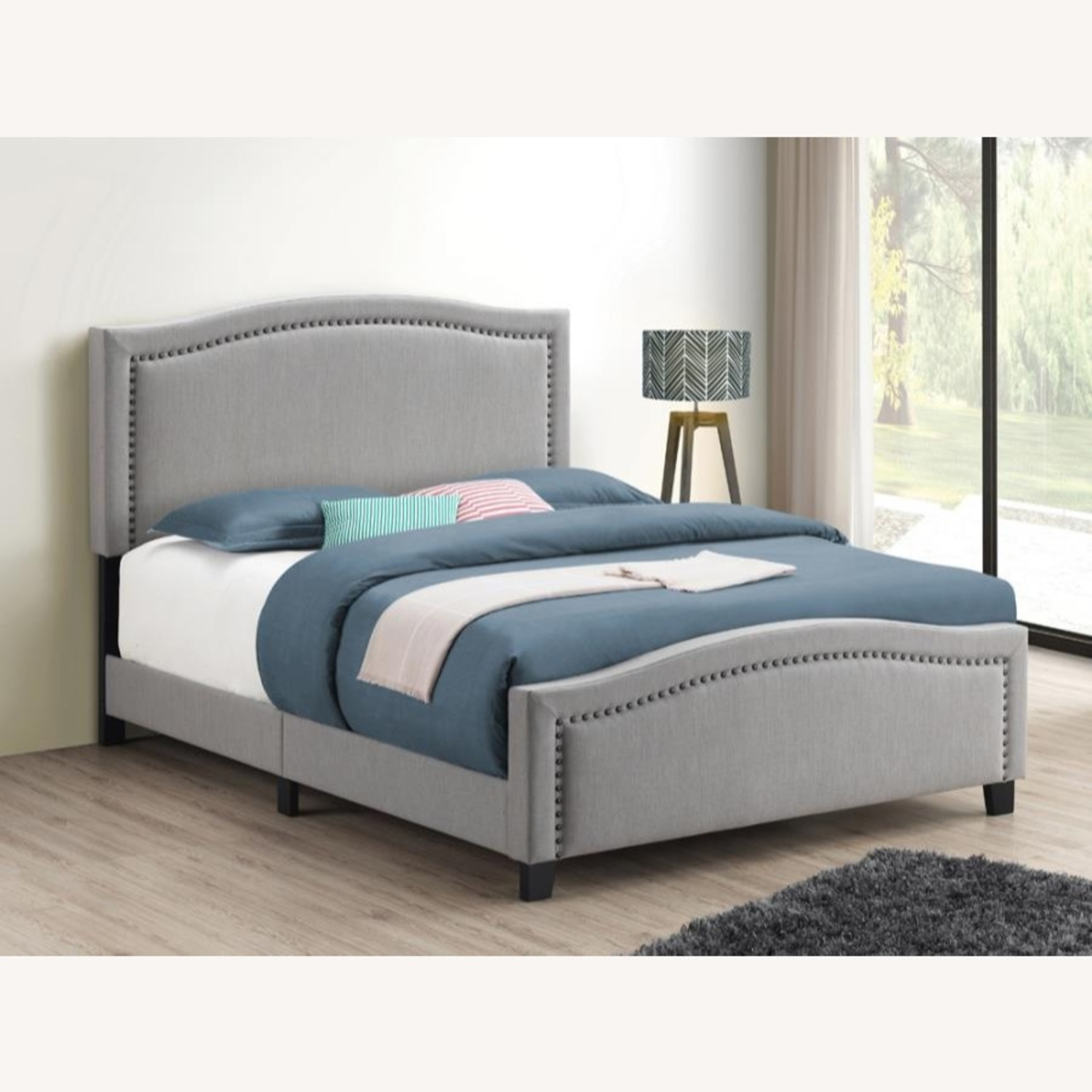 Modern Classic Queen Bed In Mineral Colored Fabric - image-1