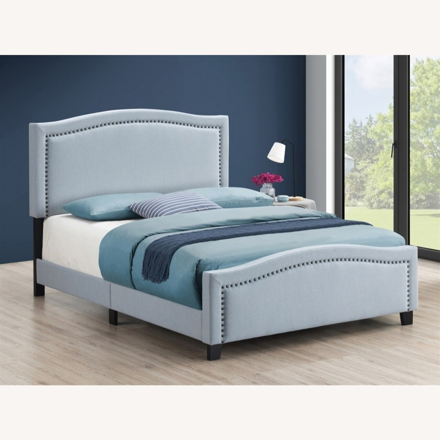 Modern Classic Queen Bed In Delft Blue Fabric - image-2