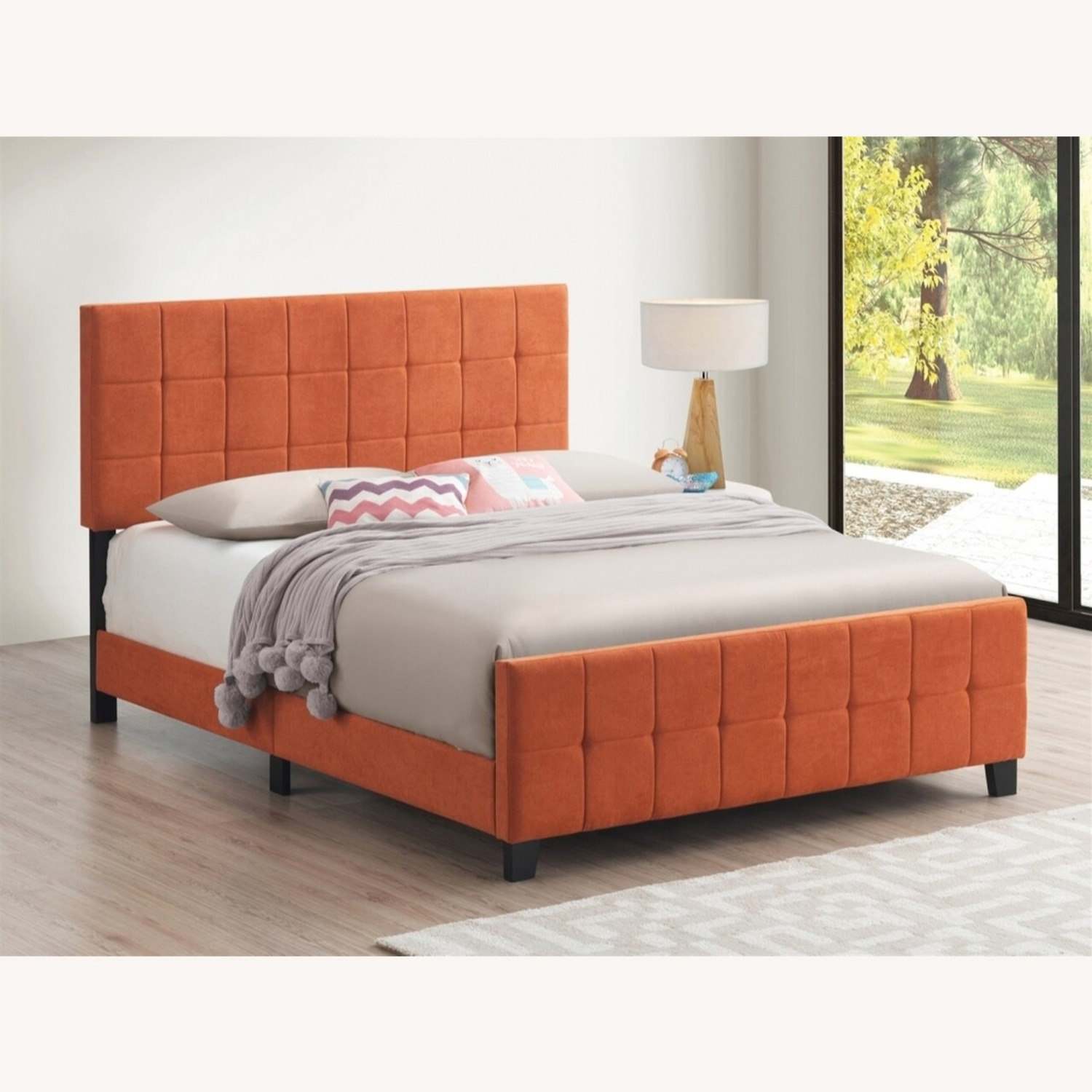 Queen Bed In A Pop Of Color Orange Fabric - image-3