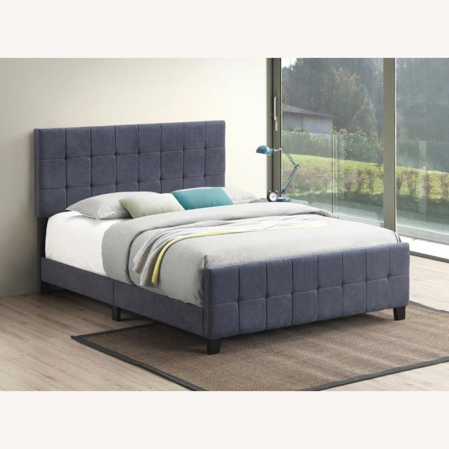 Queen Bed In A Pop Of Color Grey Fabric - image-2