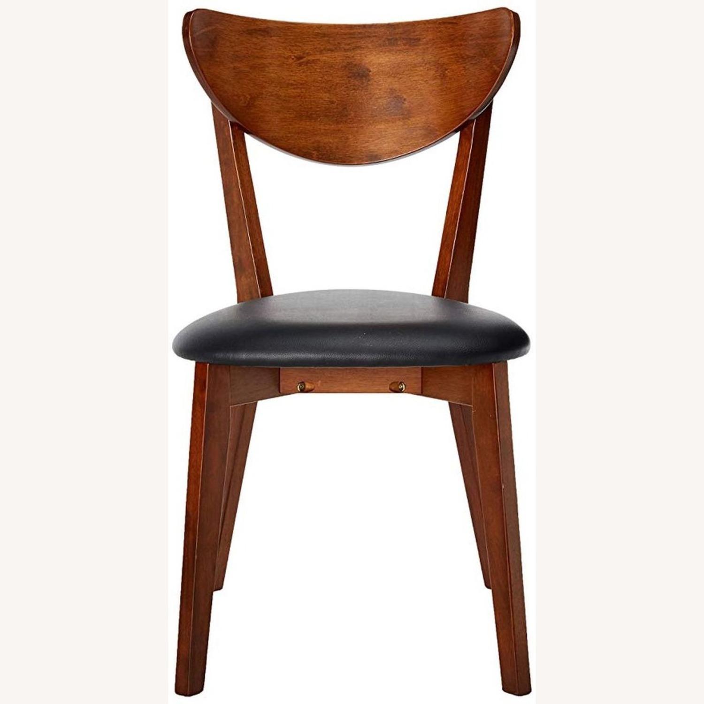 Side Chair In Dark Walnut Finish W/ Black Leatherette - image-3