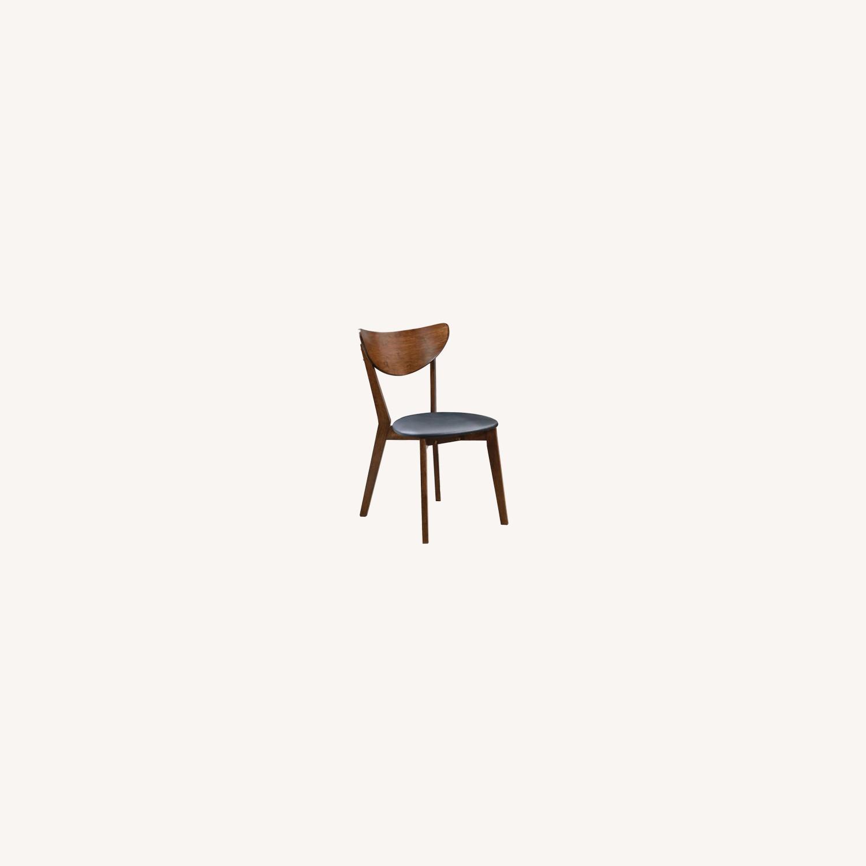 Side Chair In Dark Walnut Finish W/ Black Leatherette - image-6