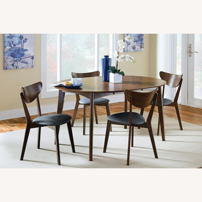 Side Chair In Dark Walnut Finish W/ Black Leatherette - image-5