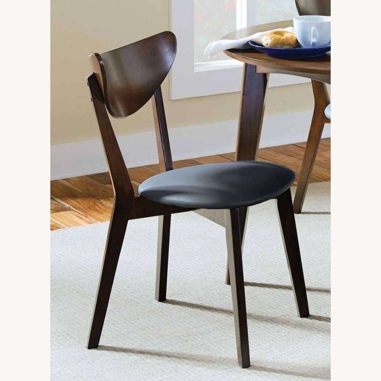 Side Chair In Dark Walnut Finish W/ Black Leatherette - image-4