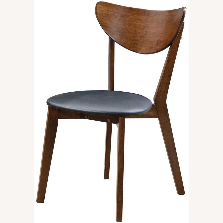 Side Chair In Dark Walnut Finish W/ Black Leatherette - image-1