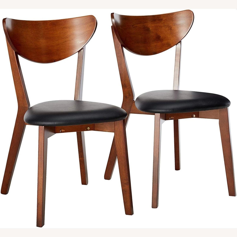 Side Chair In Dark Walnut Finish W/ Black Leatherette - image-2