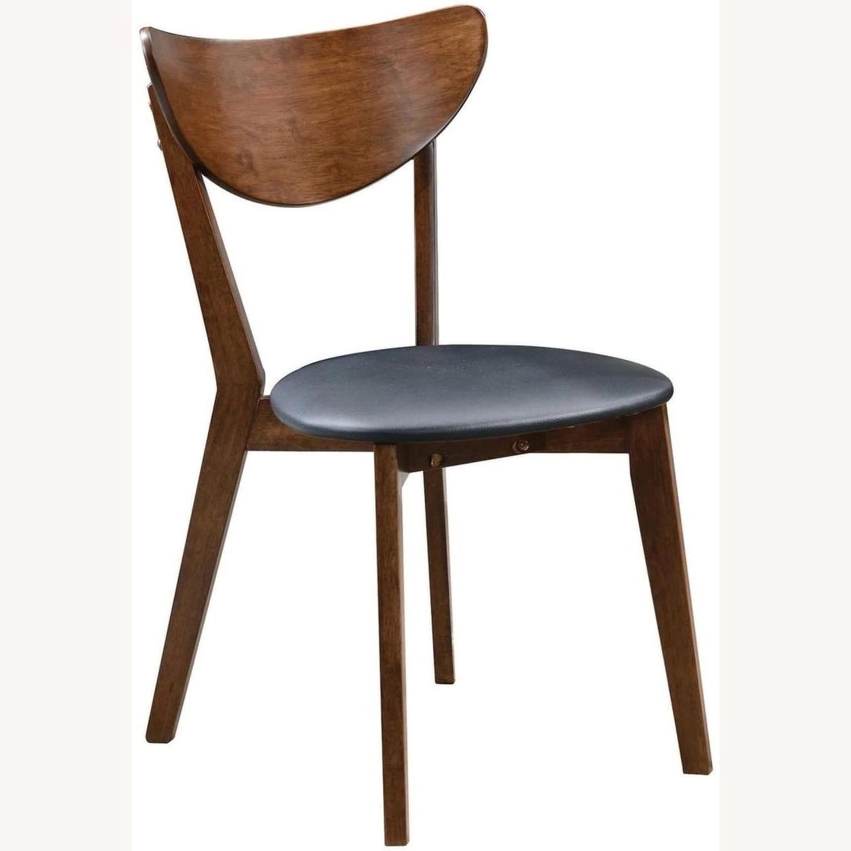 Side Chair In Dark Walnut Finish W/ Black Leatherette - image-0