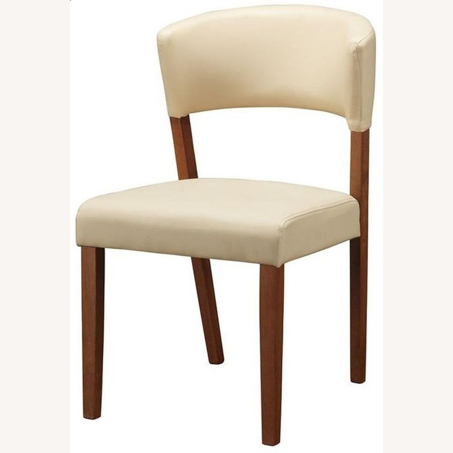 Retro Side Chair In Nutmeg & Cream Leatherette - image-1