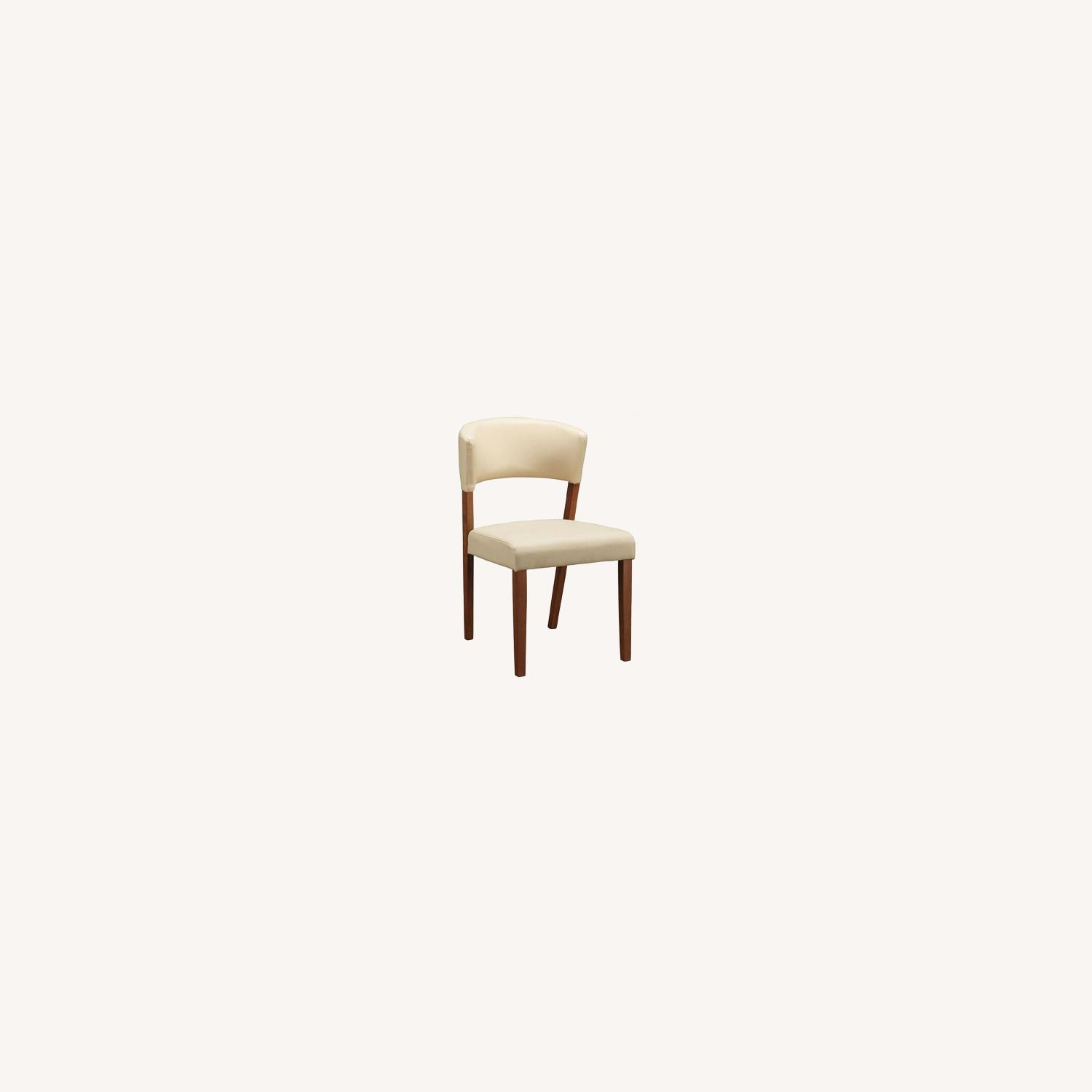 Retro Side Chair In Nutmeg & Cream Leatherette - image-6