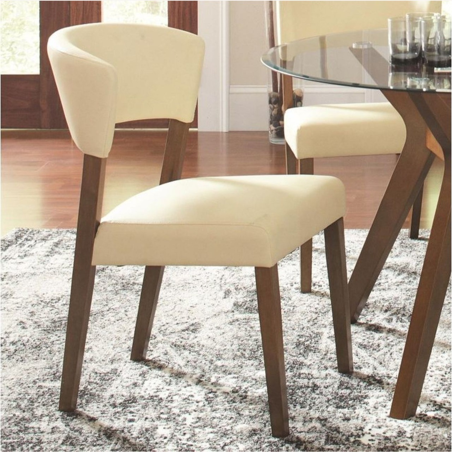 Retro Side Chair In Nutmeg & Cream Leatherette - image-3