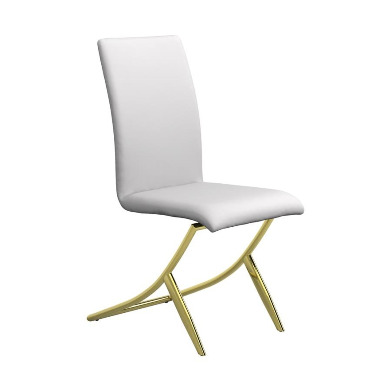 Side Chair In White W/ Crisscross Base Design - image-0