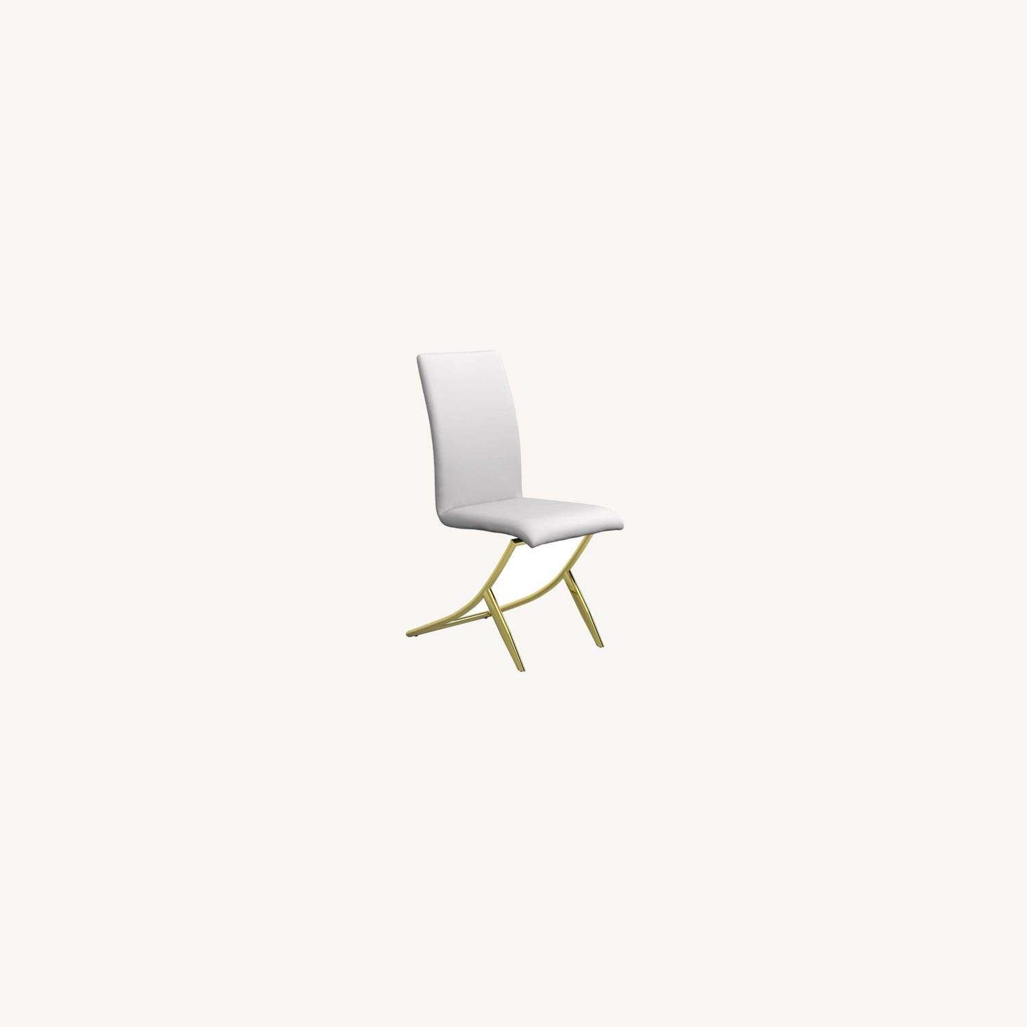 Side Chair In White W/ Crisscross Base Design - image-5