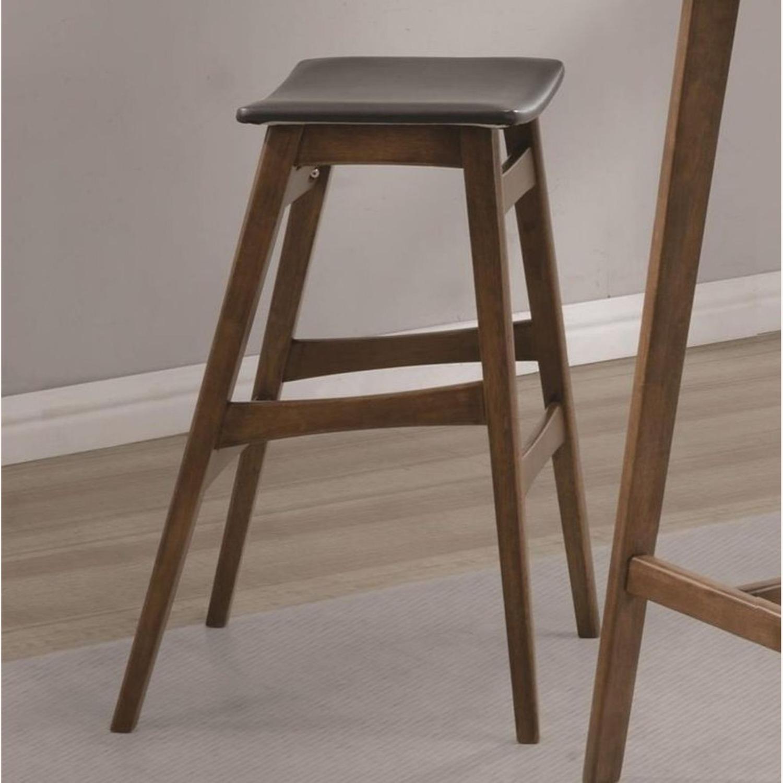 Modern Bar Stool In Dark Grey Leatherette - image-2