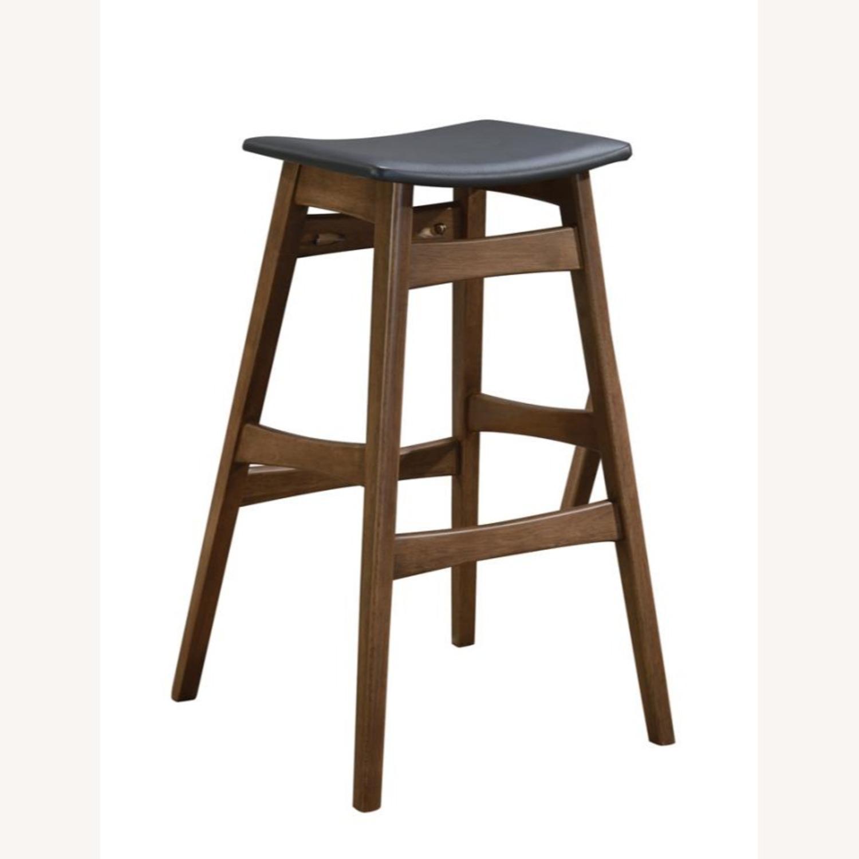 Modern Bar Stool In Dark Grey Leatherette - image-0