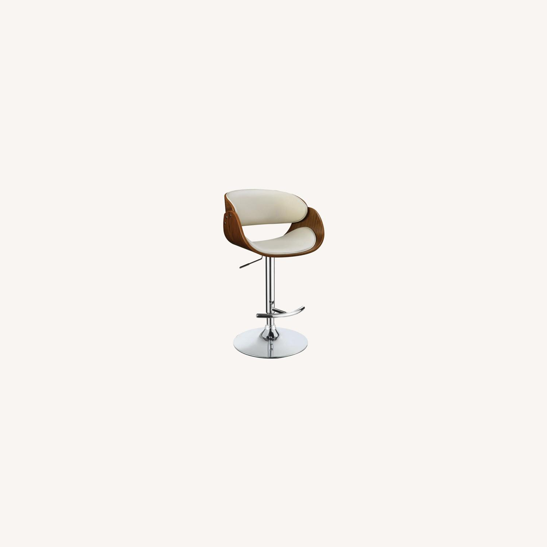 Height Adjustable Bar Stool In Ecru Leatherette - image-6