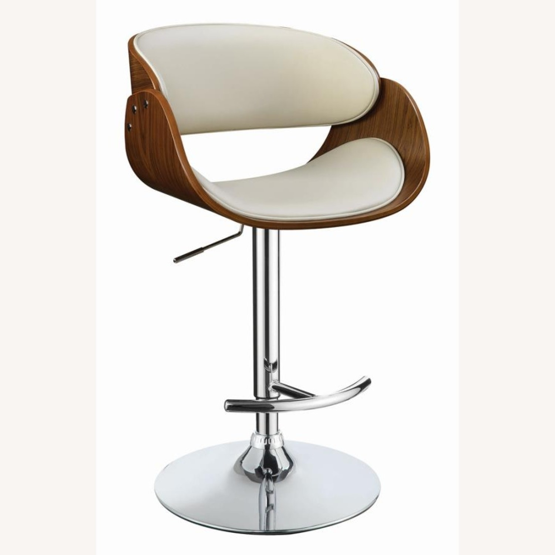 Height Adjustable Bar Stool In Ecru Leatherette - image-0