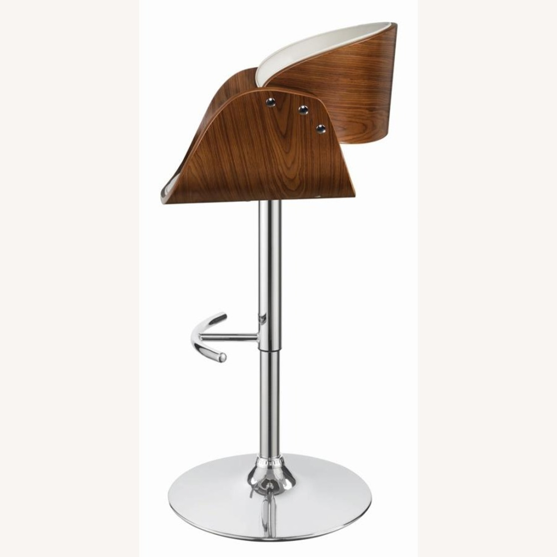 Height Adjustable Bar Stool In Ecru Leatherette - image-2