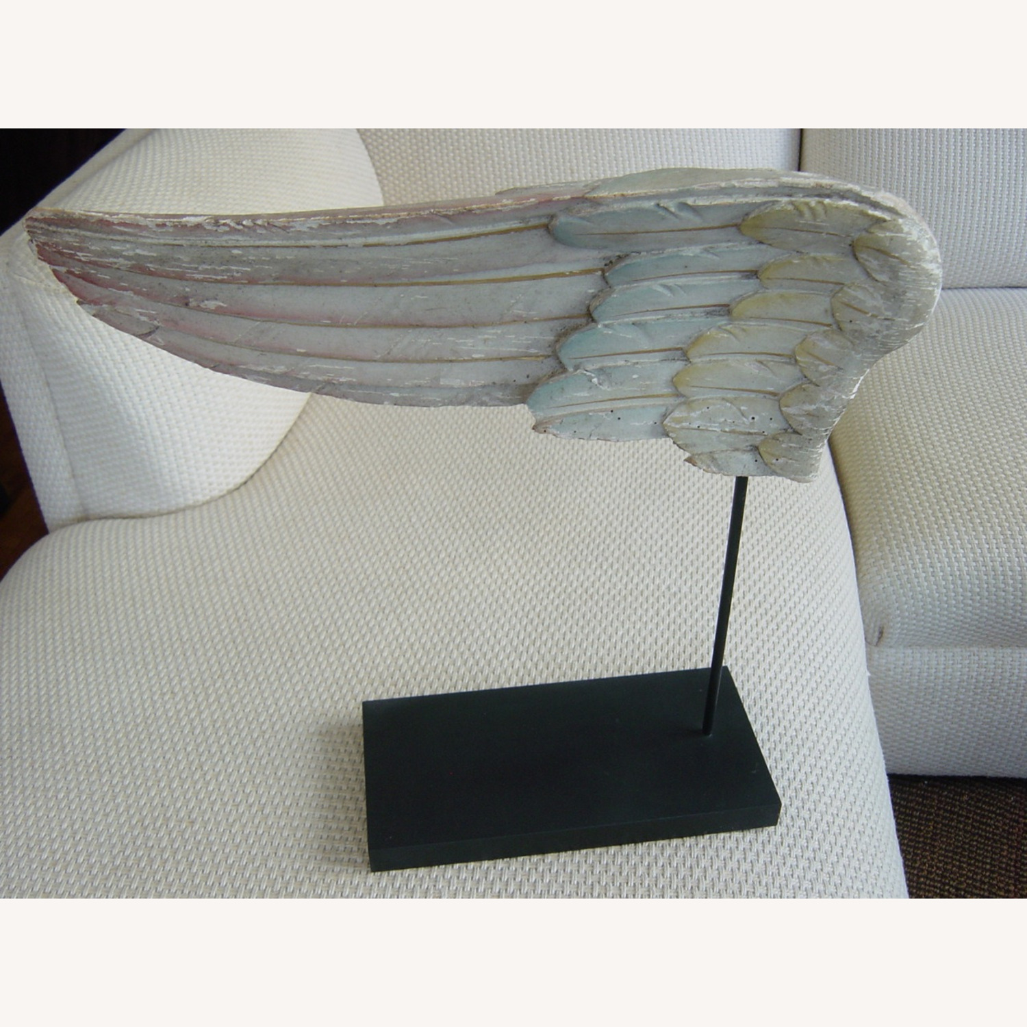 Polychromed Antique Angel Wing on Stand - image-1