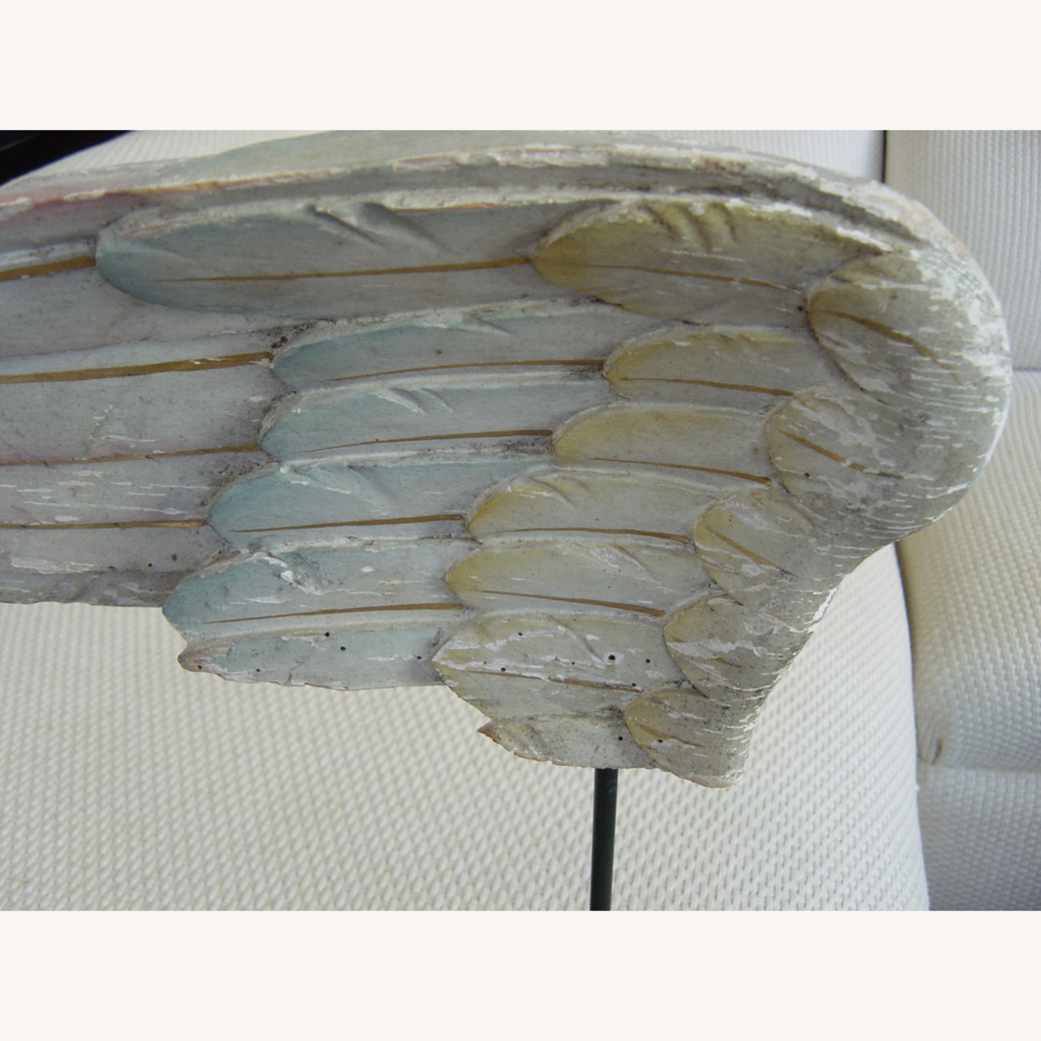 Polychromed Antique Angel Wing on Stand - image-2