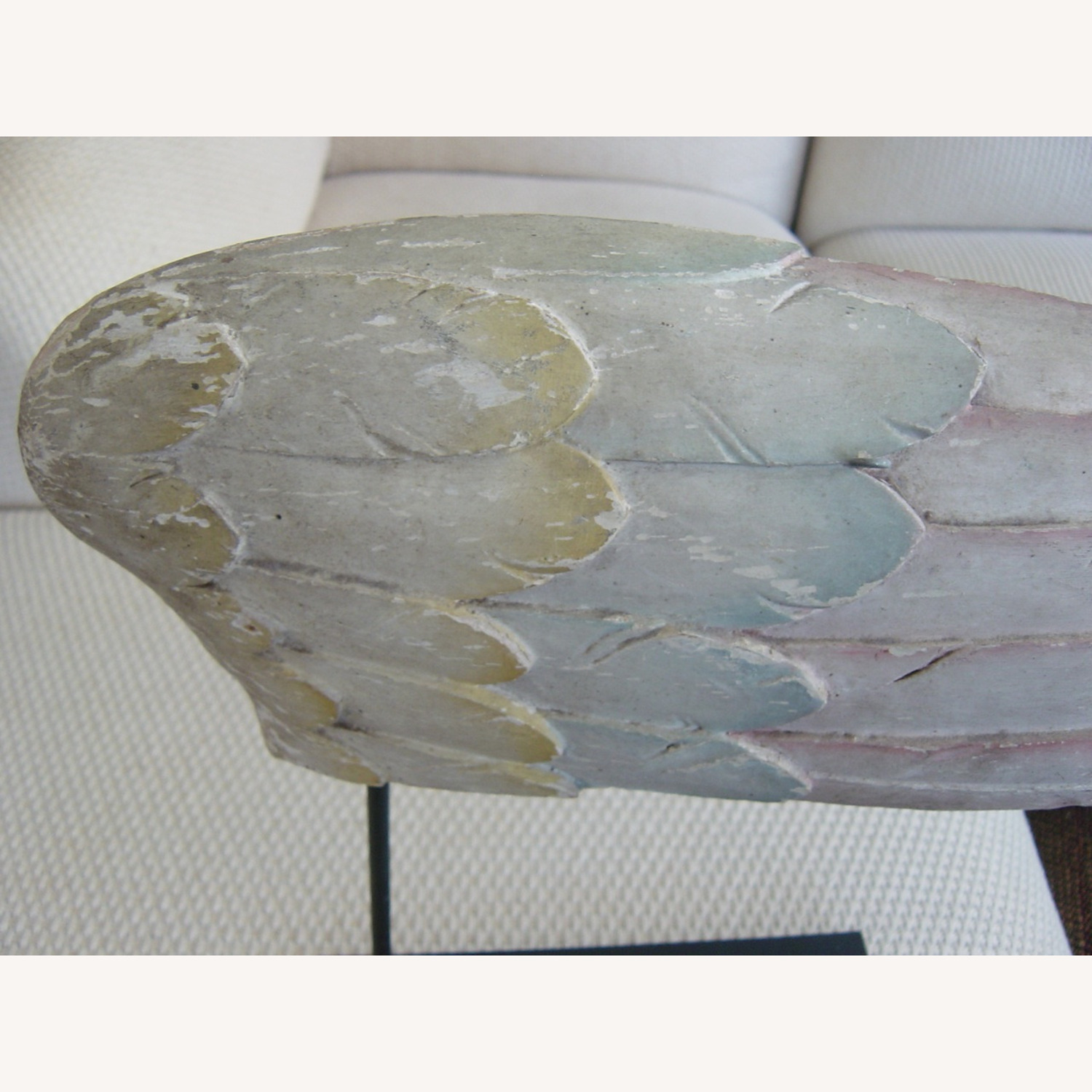 Polychromed Antique Angel Wing on Stand - image-7