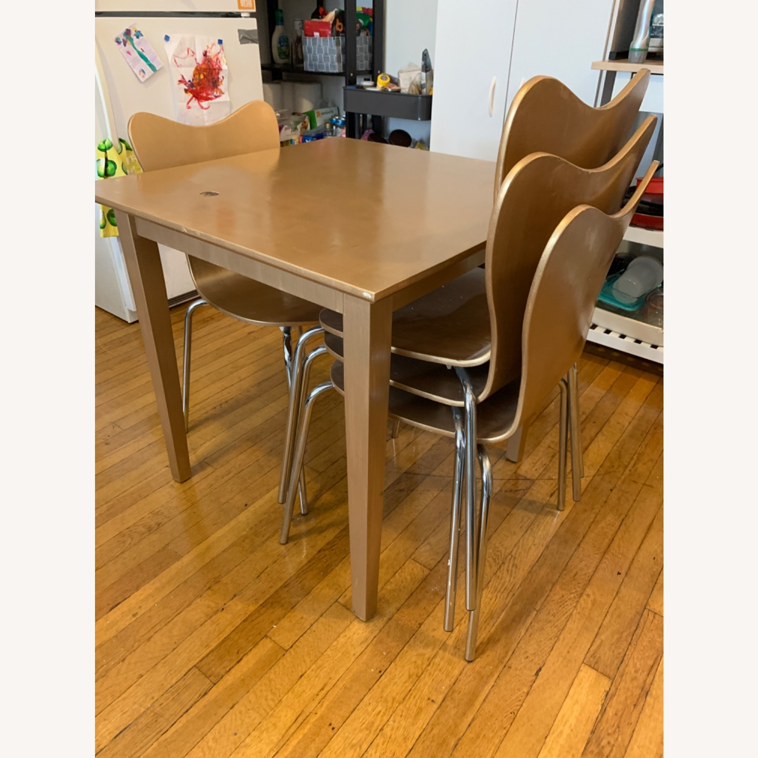 Gold West Elm (4) Chairs and Table - image-2