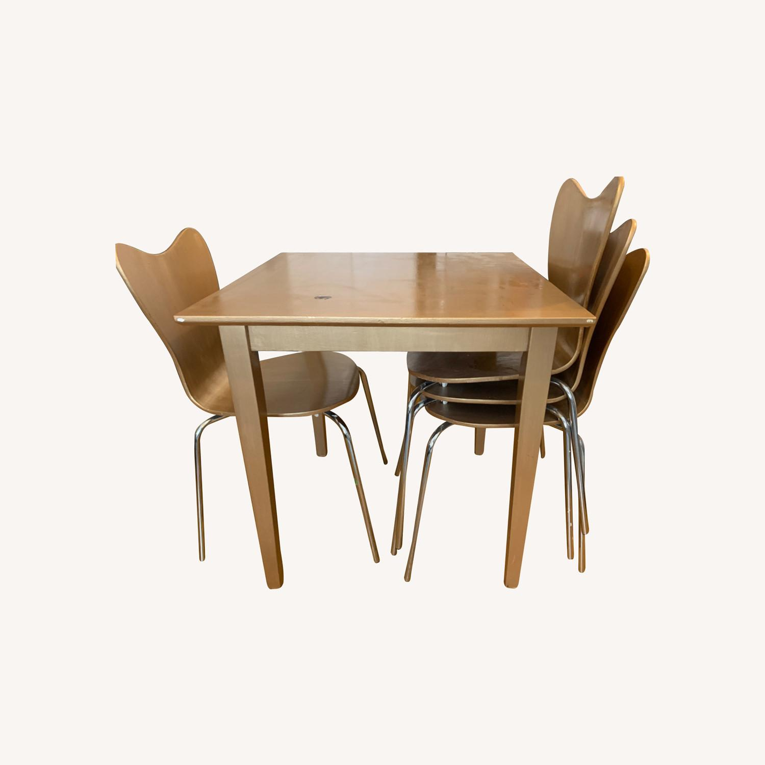 Gold West Elm (4) Chairs and Table - image-0