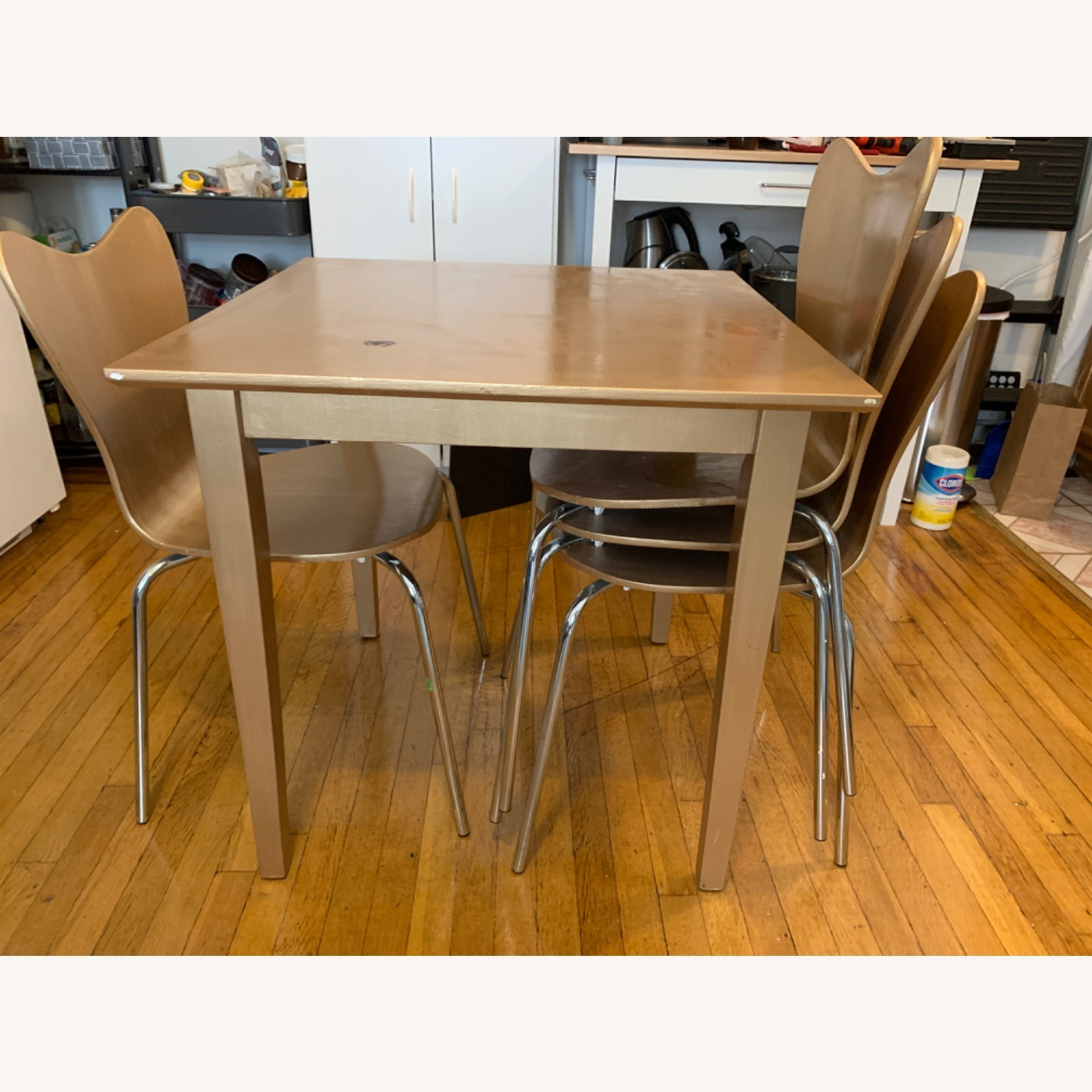 Gold West Elm (4) Chairs and Table - image-1