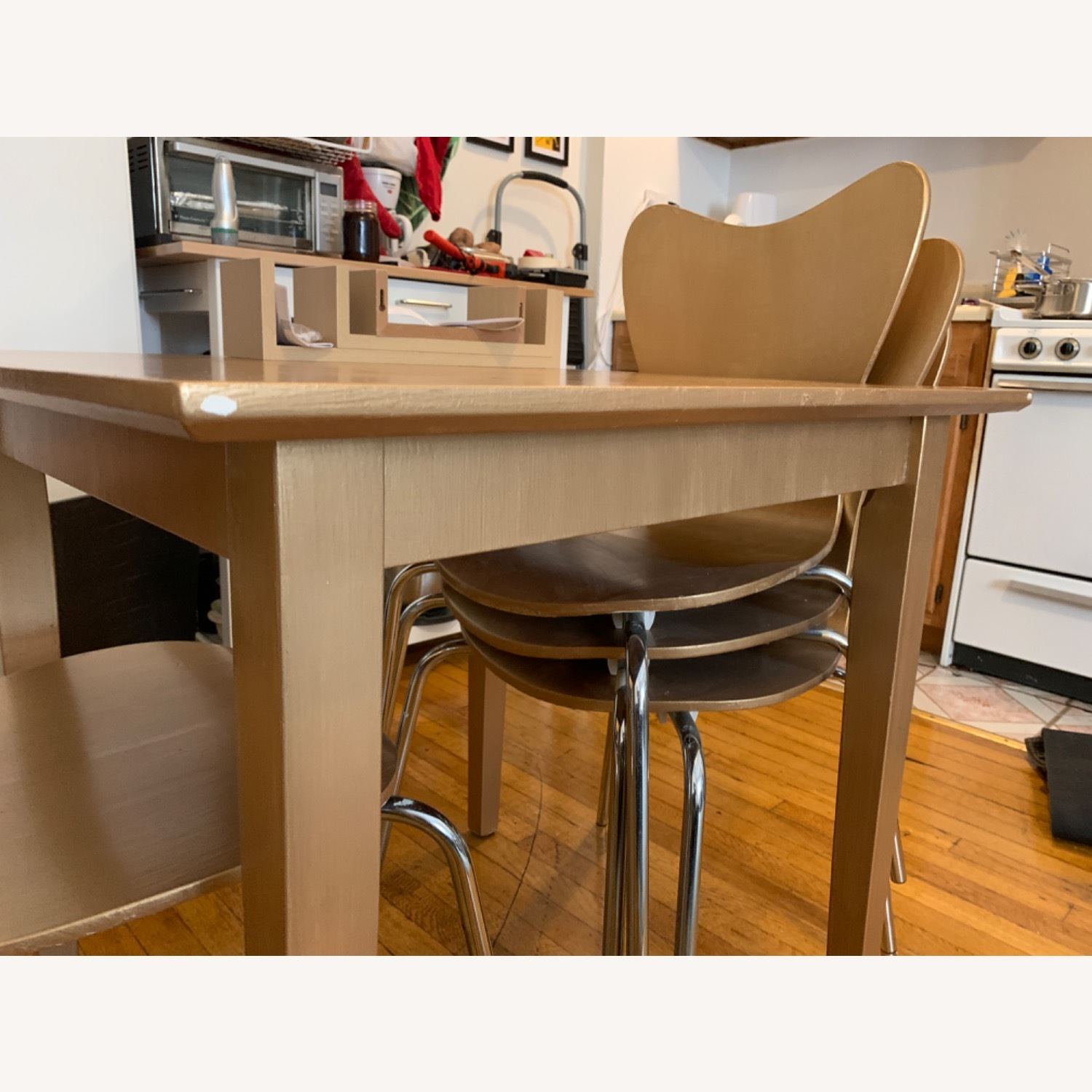 Gold West Elm (4) Chairs and Table - image-11