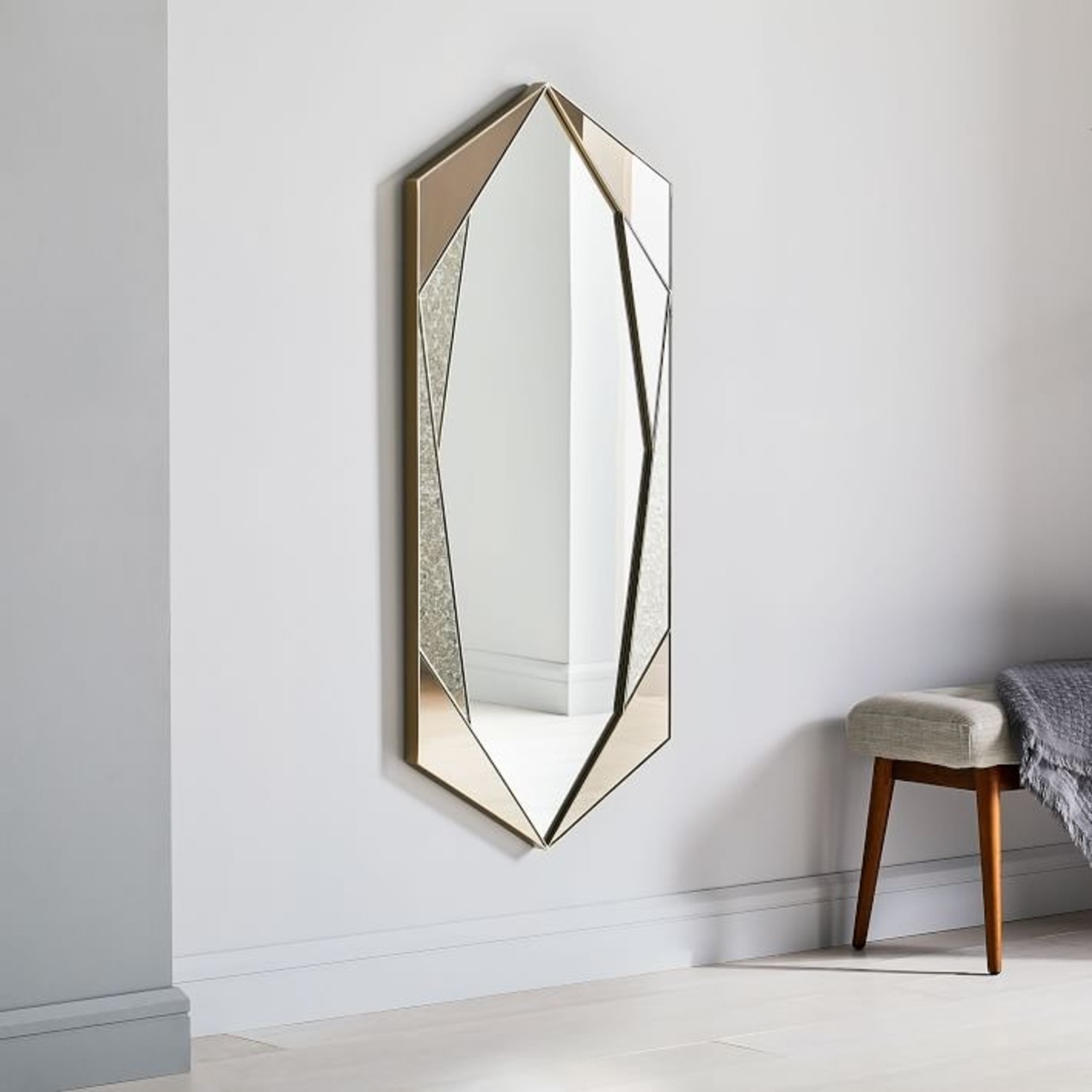 West Elm Facted Tinted Mirror Foxed, Tinted Tall - image-1