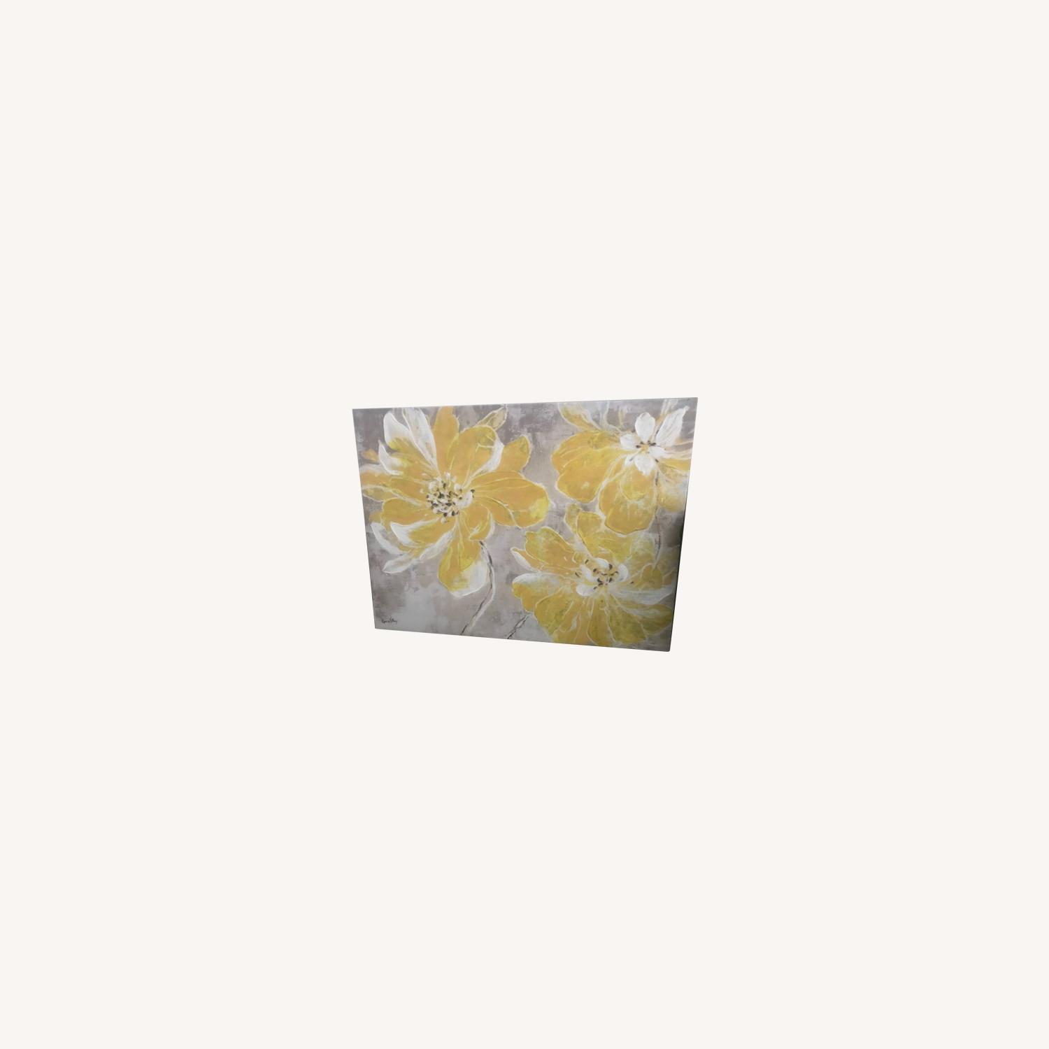 Gray & Yellow Floral Canvas - image-0