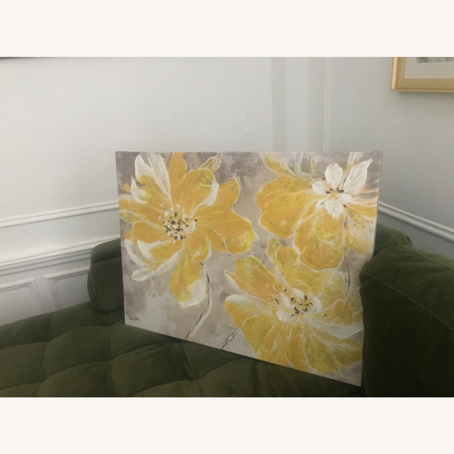 Gray & Yellow Floral Canvas - image-2