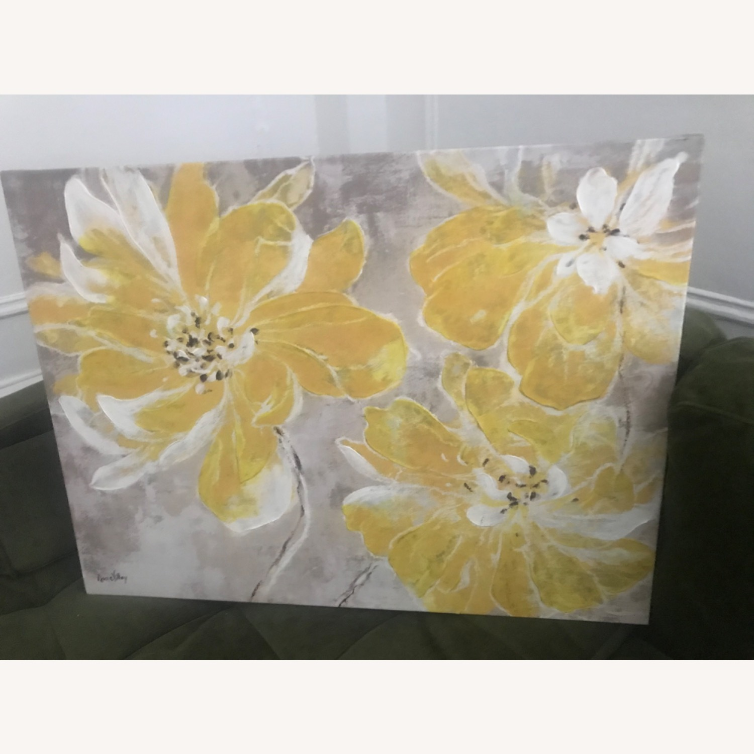 Gray & Yellow Floral Canvas - image-1
