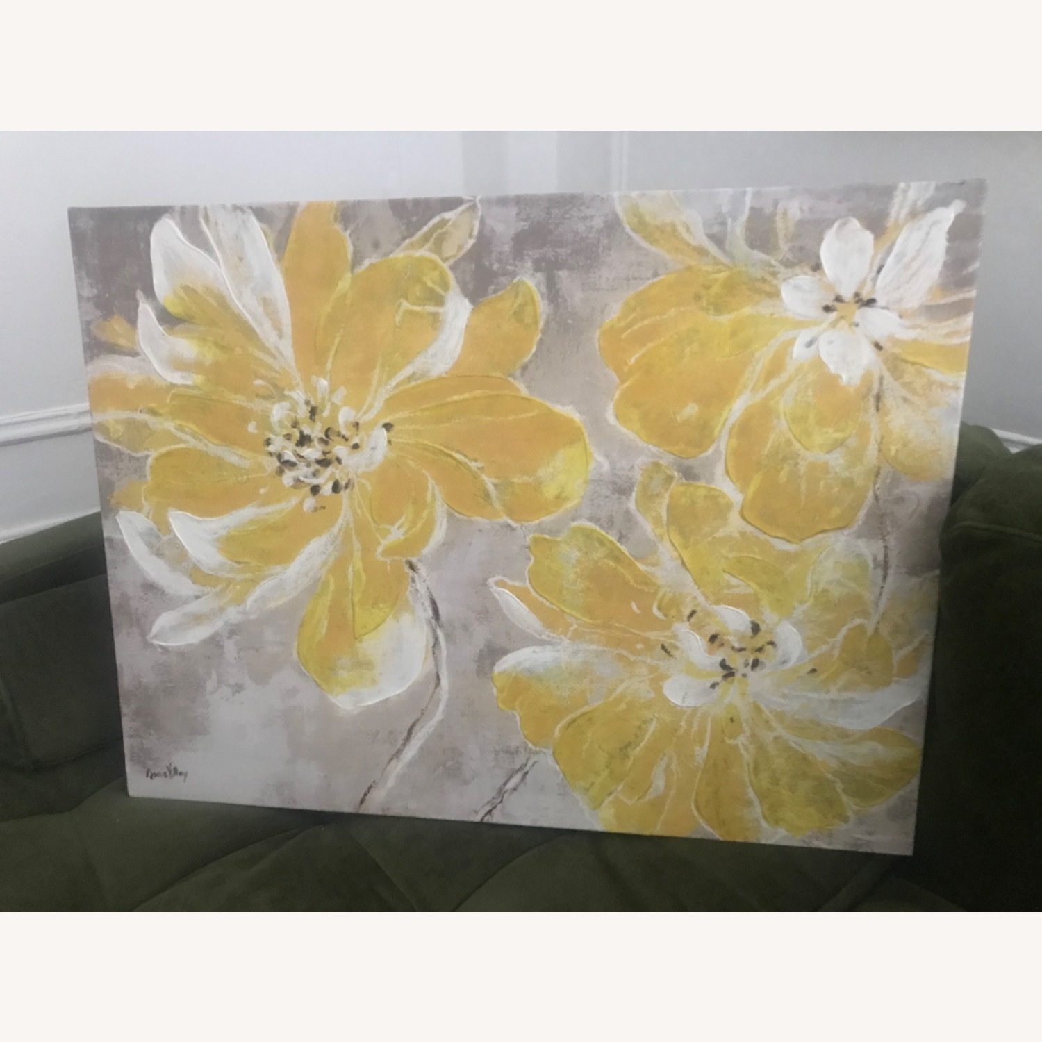 Gray & Yellow Floral Canvas - image-3